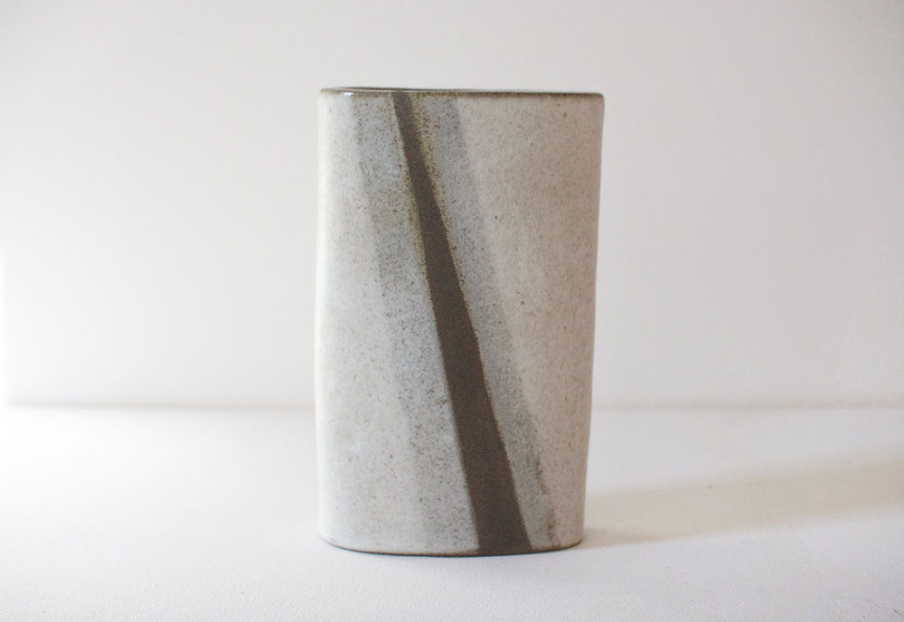Mountain Bolt - black clay vase - 12x5x3in - $140 (two available)