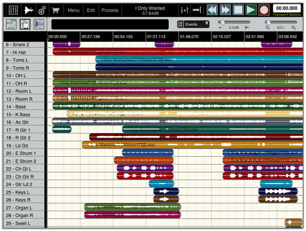 DAW studio for iPad: multitrack editor