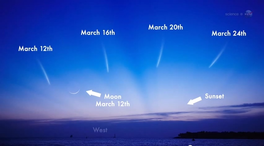 Use this simulated image to get an idea of where to look for comet Pan-STARRS later this week.  (Image credit: NASA)