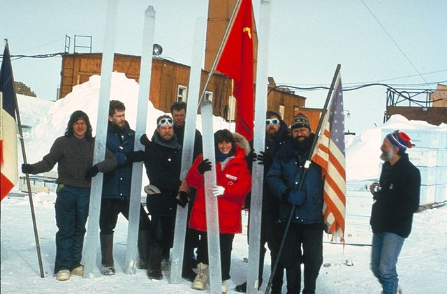 Scientists at Vostok Station holding ice cores from an unrelated experiment. (Image credit: NOAA)