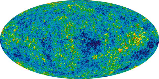 The cosmic microwave background.  The patterns visible here would eventually become the structure of the universe as we see it today.  (Image credit: NASA)