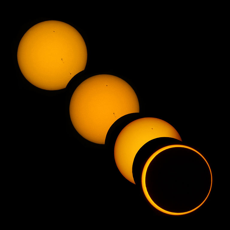 Progression of a 2012 partial solar eclipse.
