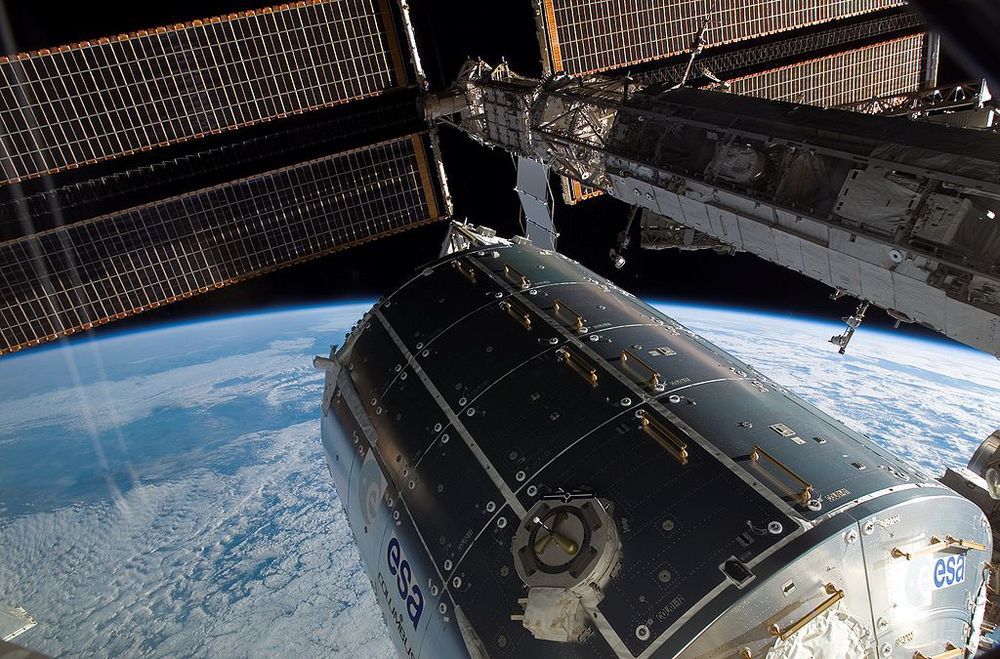A solar panel appears to be leaking coolant aboard the ISS.  (Image credit: NASA)