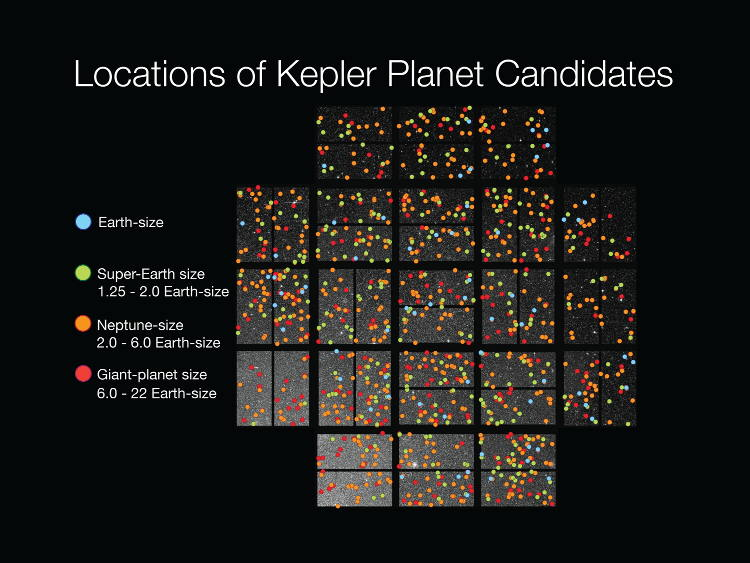 Kepler candidate planets superimposed over an image of the region of sky viewed by the telescope.  Planets seem to be everywhere we look!  (Image credit: NASA)