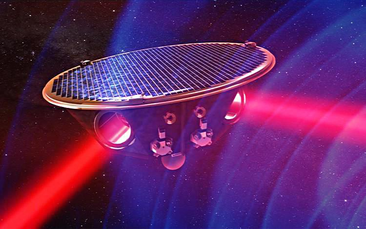 Artist's rendition of one of three eLISA spacecraft and the lasers that connect it to the other two spacecraft. (Image credit: AEI/MM/exozet/NASA/Henze)