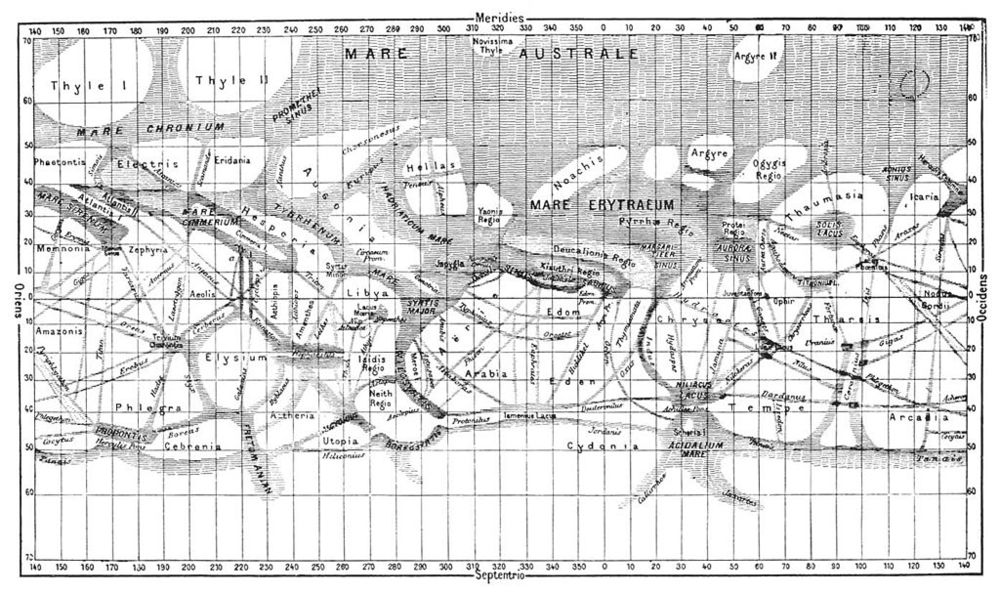 "Map of Mars drawn by  Giovanni Schiaparelli.  He completed it in 1886.  The lines denote ""canals"" on Mars."