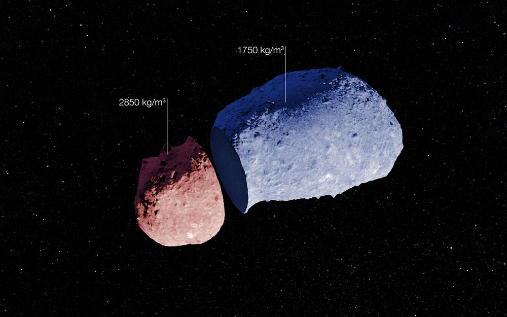By using a unique technique, astronomers were able to determine that this asteroid doesn't have the same density everywhere.  (Image credit: ESA/JAXA)
