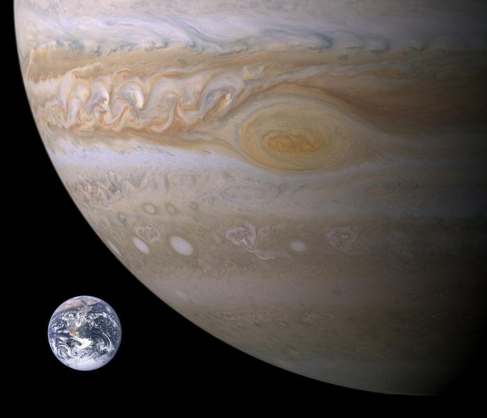 Early scientists determined that the Earth and Jupiter have quite different densities. (Image credit: NASA)