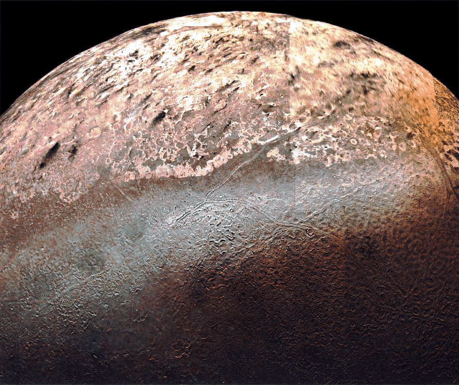 Triton's tortured surface, as seen by Voyager 2 in 1989.  (Image credit: NASA)