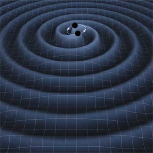 Artist's impression of gravitational waves being emitted due to two black holes spiraling around each other.  The gravitational waves create ripples in the mesh of space-time. (Image credit: T. Carnahan (NASA GSFC))