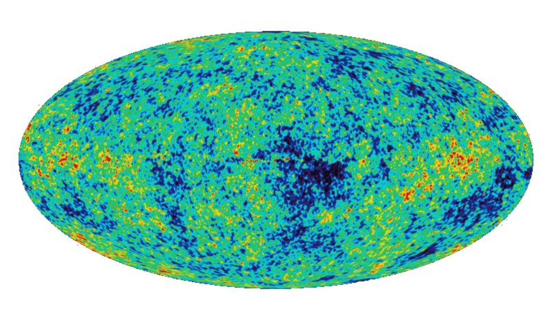 The cosmic microwave background permeates through all space.  This map of the CMB shows small deviations from the average CMB temperature.  Blue spots are slightly colder, red spots are hotter.
