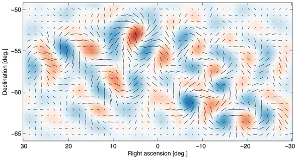 The swirly B-mode polarization of light from the cosmic microwave background. (Image credit: BICEP2 Collaboration)