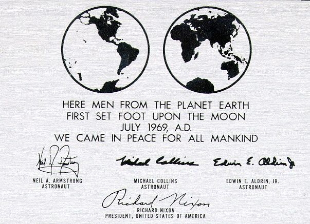 By 1969, peace was at the forefront of our first message from the Moon.  (Image credit: NASA)