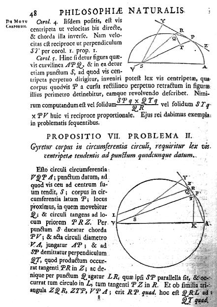 A page from Newton's Principia Mathematica showing proofs using Euclid's geometry.