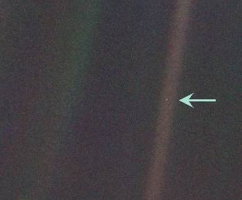 This image of Earth (tiny blue speck) was captured by the Voyager spacecraft in 1991. (Image credit: NASA)