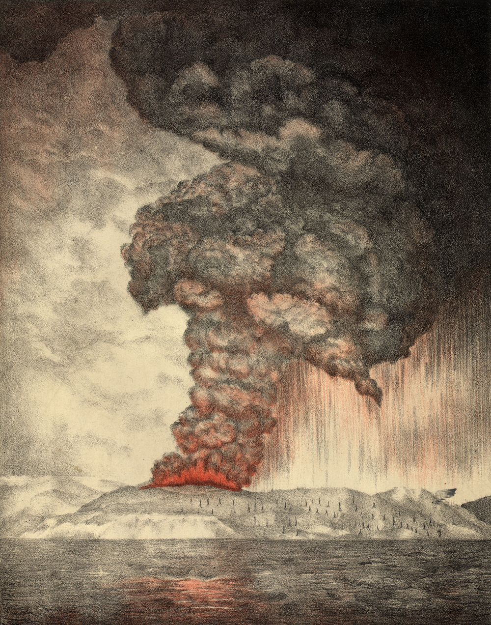 "(Image Credit:  ""Krakatoa eruption lithograph"" by Lithograph: Parker & Coward, Britain )"