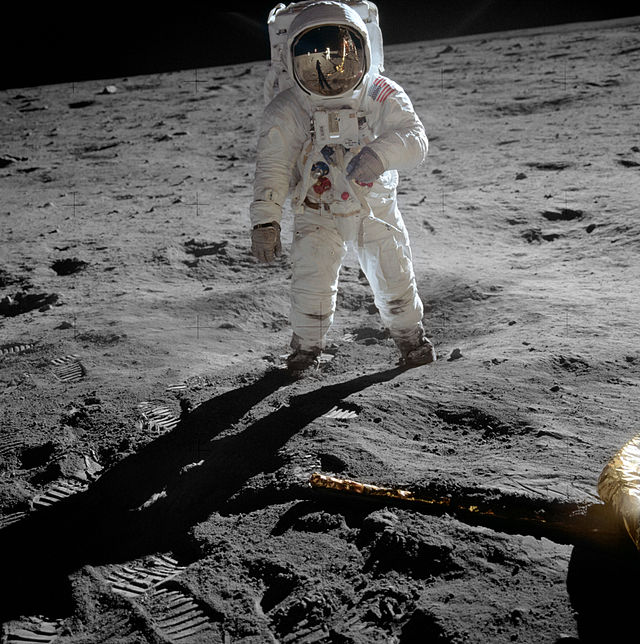 Here's Buzz Aldrin on the moon, posing to allow Neil Armstrong to take a selfie using Aldrin's visor. (Image Credit: NASA [Public domain], via Wikimedia Commons)
