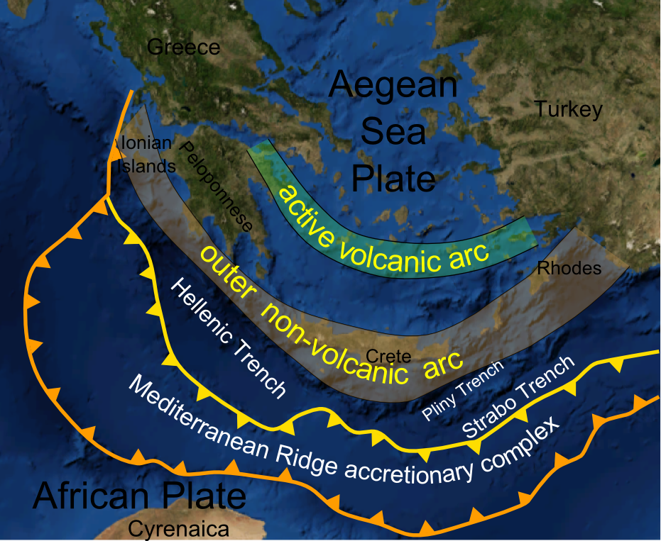 The Hellenic subduction zone in Greece. (Image Credit: Wikimedia Commons, Mikenorton)