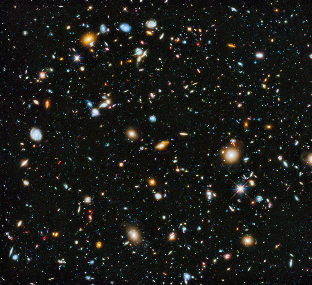 The Hubble Ultra-Deep Field consists of a combination of images from ultra-violet to infrared light taken over a  nine-year  period of time. There are 10,000 galaxies in this image. The oldest of which is only a couple of million years younger than the age of the universe. For context, the universe is 13.8 billion years old. ( Image Credit:  NASA, ESA, H. Teplitz and M. Rafelski, A. Koekemoer, R. Windhorst, Z. Levay)