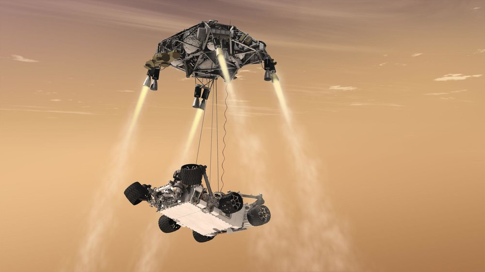An artist's conception of the landing of Curiosity using a detachable sky crane. ( Image Credit:  NASA/JPL-Caltech)