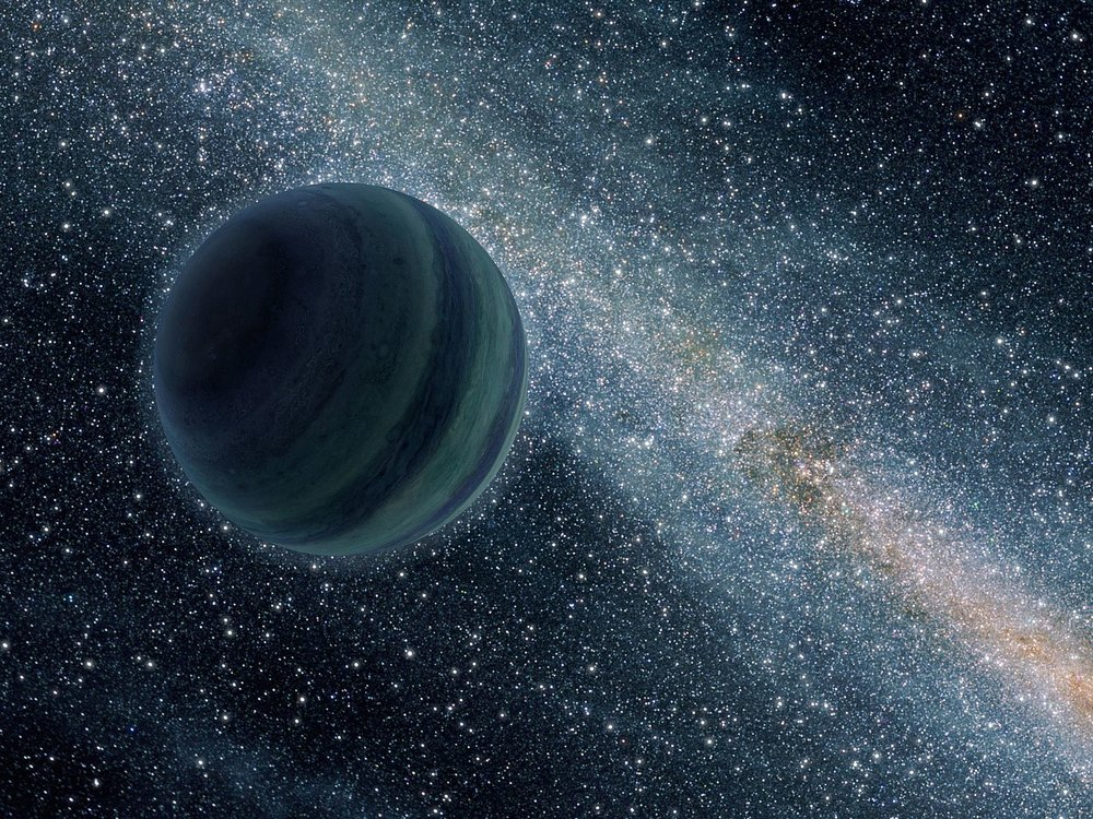 An artist's conception of a free floating planet without a host star. Note that this is a Jupiter-sized giant planet, which are far less likely to be orphaned in interstellar space. (Image Credit: NASA/JPL-Caltech)