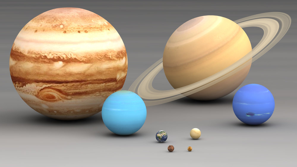 The gas giants left to right: Jupiter, Uranus, Saturn, and Neptune are the big bullies of the solar system. This becomes especially apparent when stacked up side by side to scale. (Image Credit: Wikipedia Creative Commons, Lmspascal)
