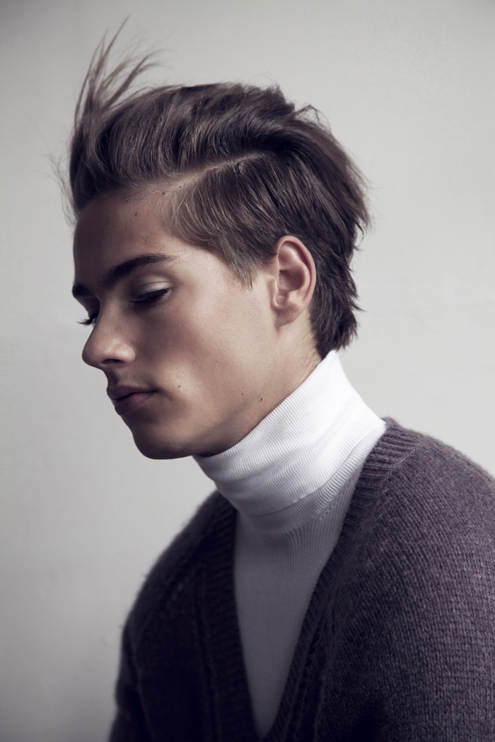bitemagazine :      An exclusive BITE blog series: CLOSER I      Bob Bos (Tony Jones Model Management) by Marco van Rijt   Styling by Richard Schreefel   Hair and Makeup by Chantal van Gogh    Turtleneck PRADA, cardigan BURBERRY PRORSUM
