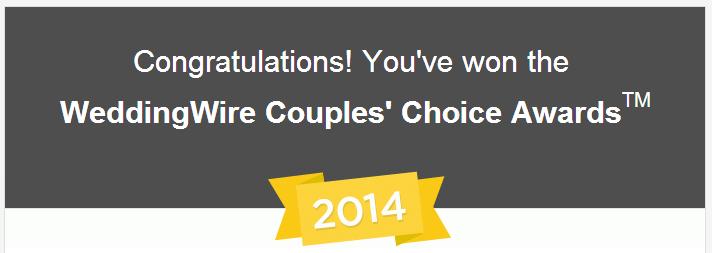 WeddingWire.com Couples Choice Award 2014 Sure Tones Entertainment