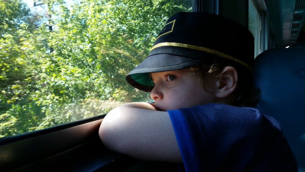 Oliver is in LOVE with trains.  Here in Indiana we still have a few that run throughout the year!