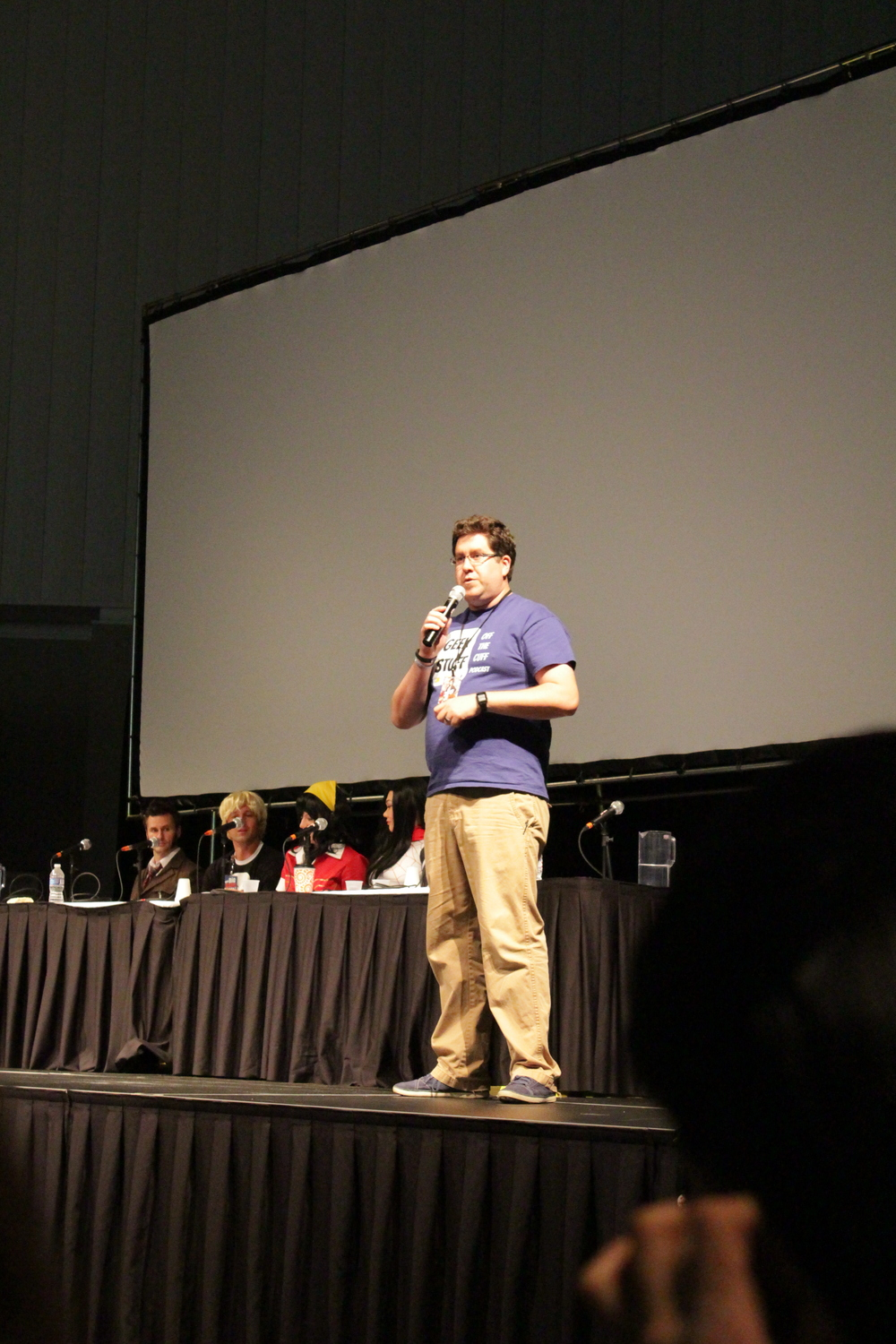 Jared co-hosting the Cosplay Contest at Indy PopCon 2015