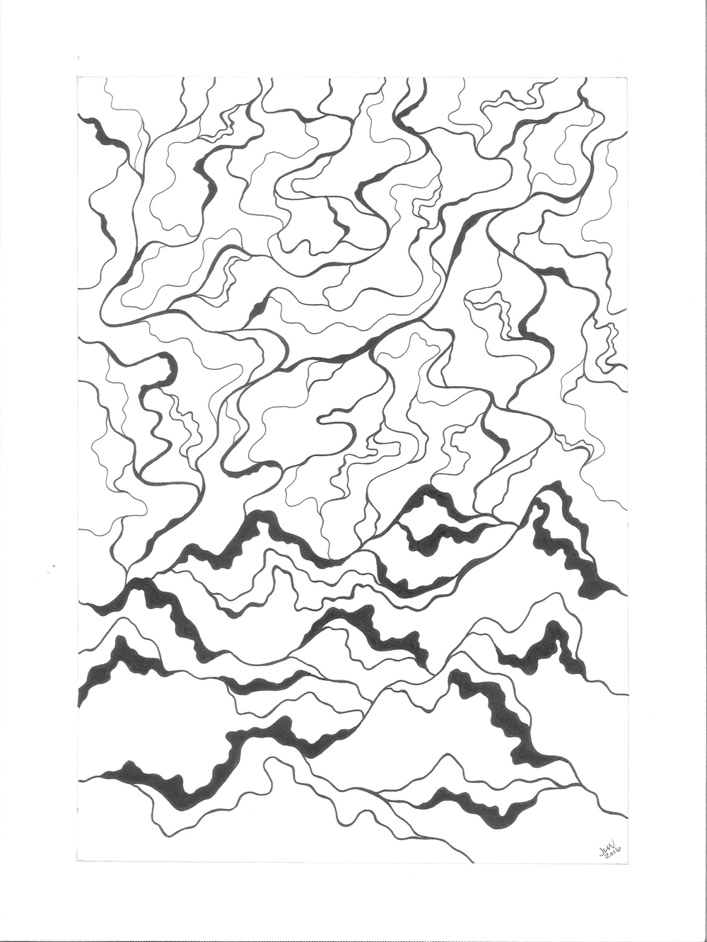 Mountain & Sky, 2016, Pen & Ink (without color) SOLD