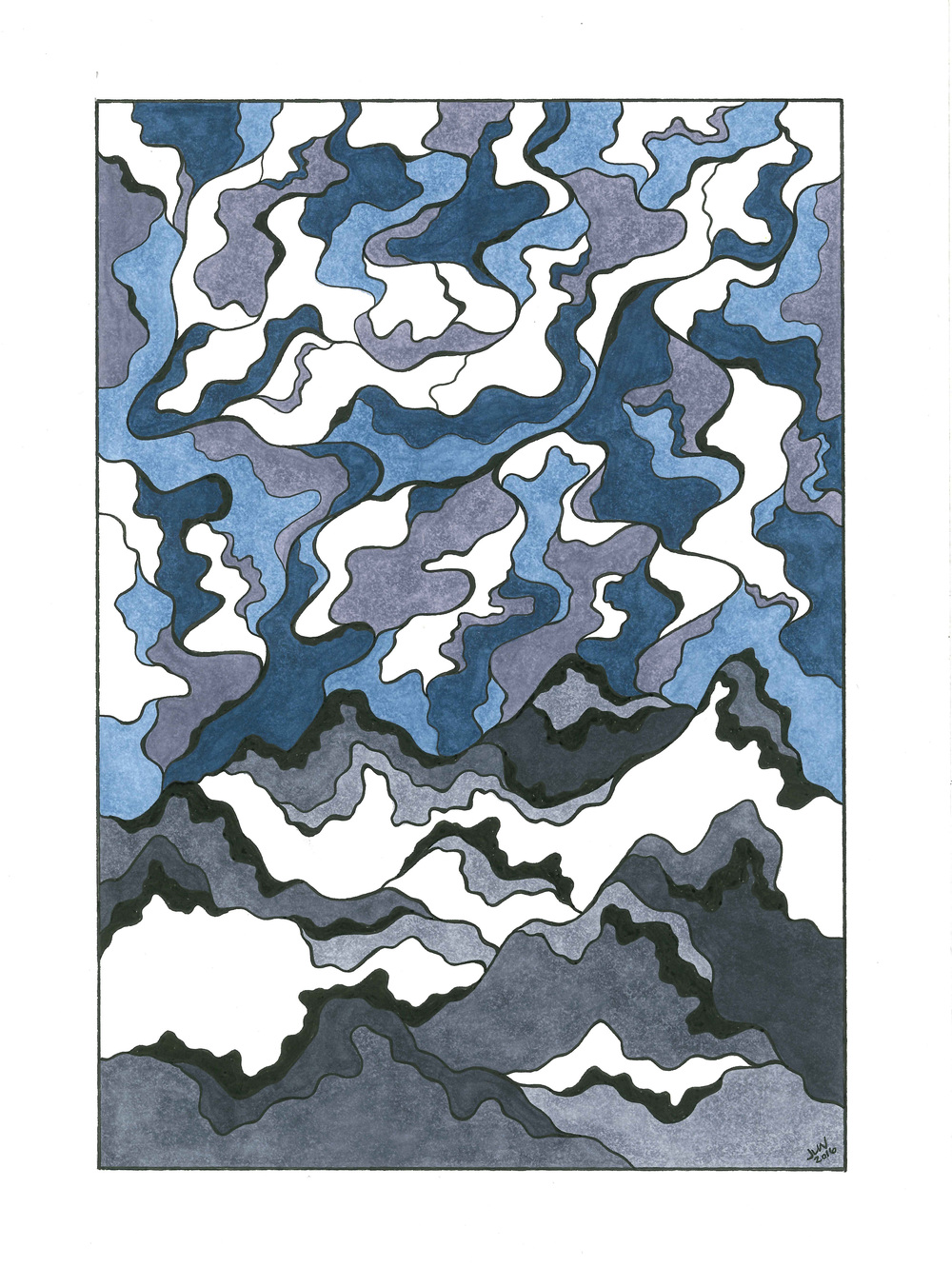 Mountain & Sky, 2016, Pen & Ink, (with color) (SOLD)