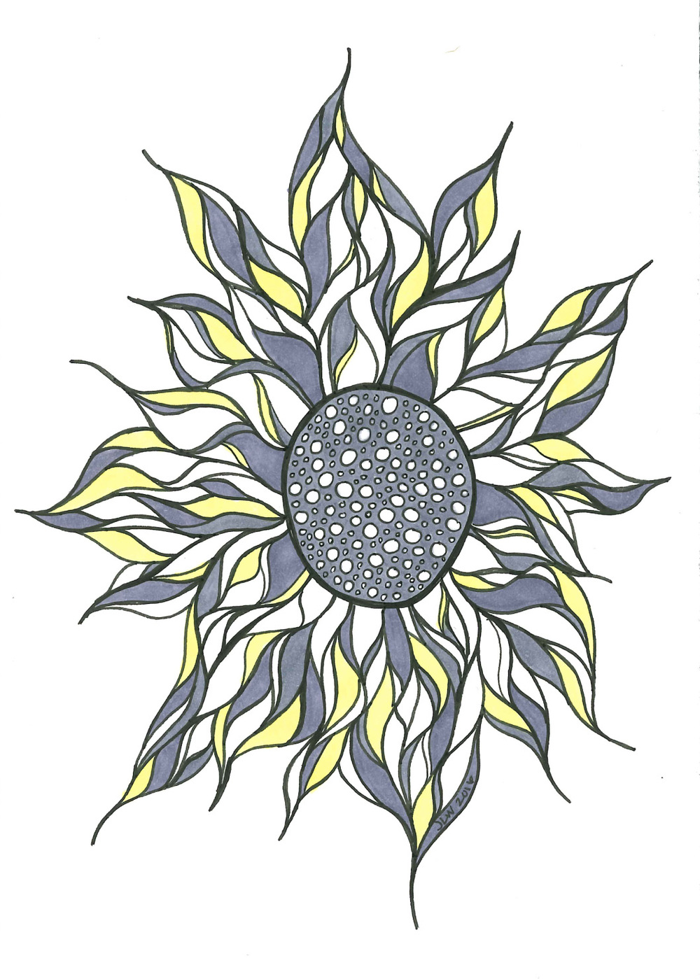 Sunflower, 2016, Ink Pen & Marker