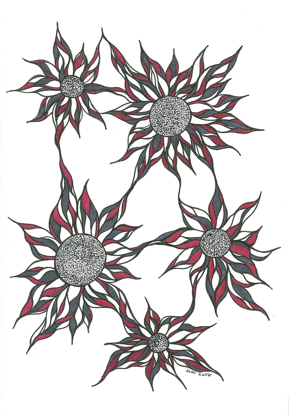 Red Flowers, 2016, Ink Pen & Marker