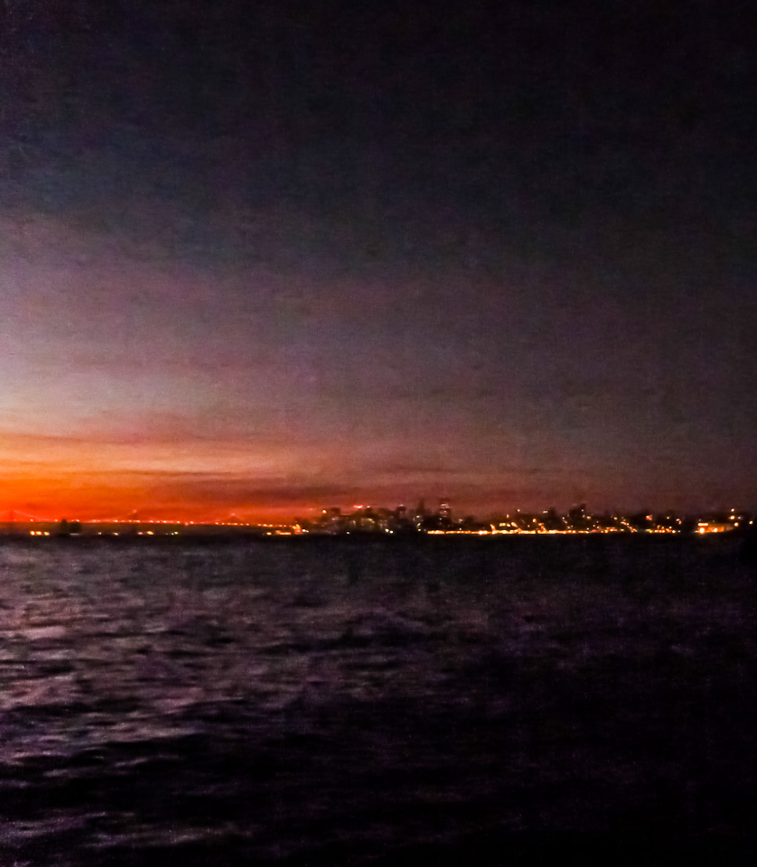 Bright lights. Big City . Jan. 19, 6:43 a.m., 40 degrees, San Francisco as seen from Point Blunt