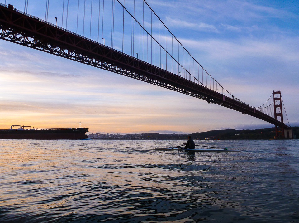 Ken Robinson and tanker under the Golden Gate Bridge. April 16, 2012. 5:45 a.m.