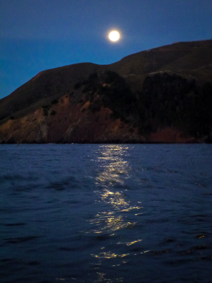 Monday, January 28, 7:01 a.m. Moon above Marin Headlands