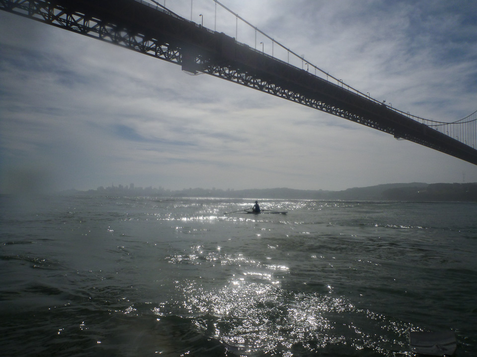 Robin rows under the Golden Gate for the first time. March 8, 2014