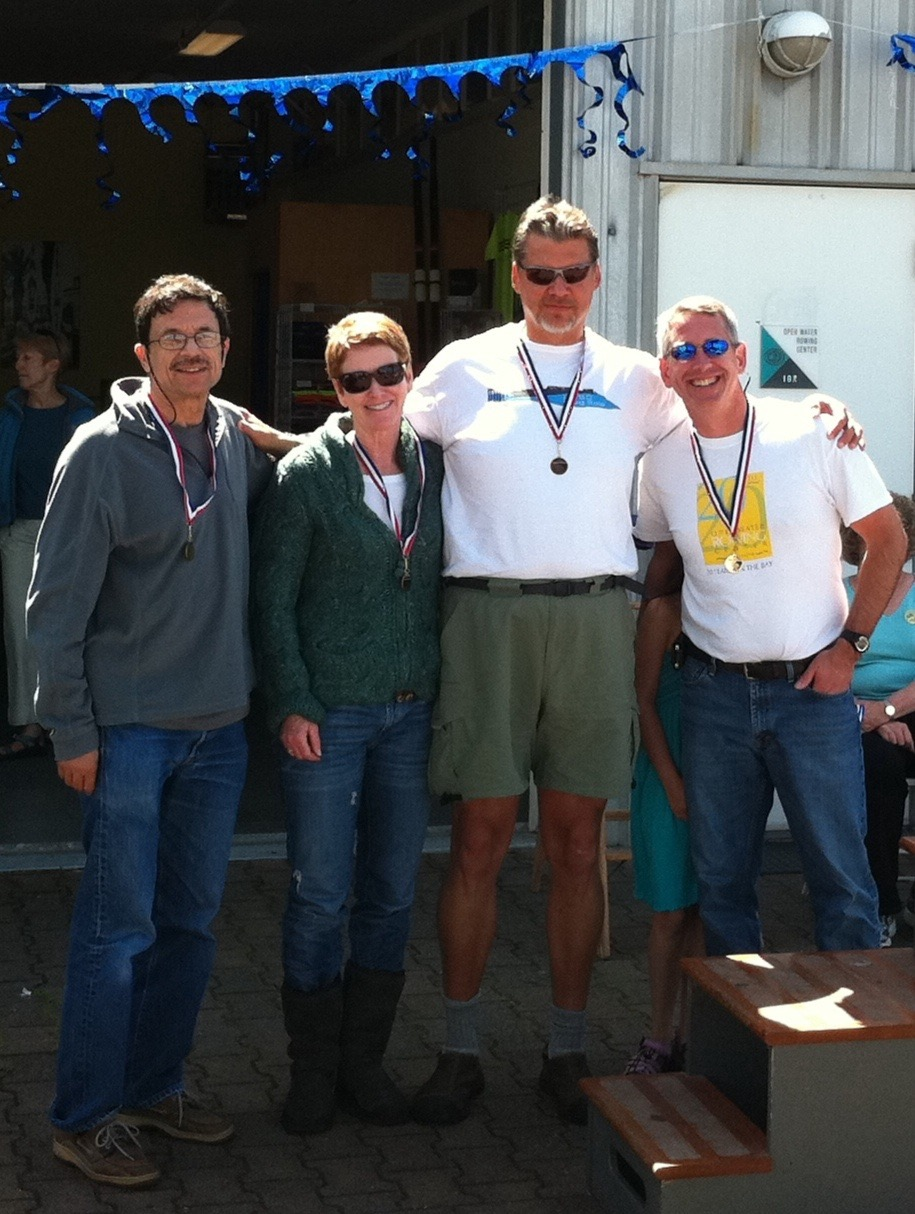 Patrice, me, Tim & Stefan. Open Water Rowing Regatta, Sausalito, California, 2012