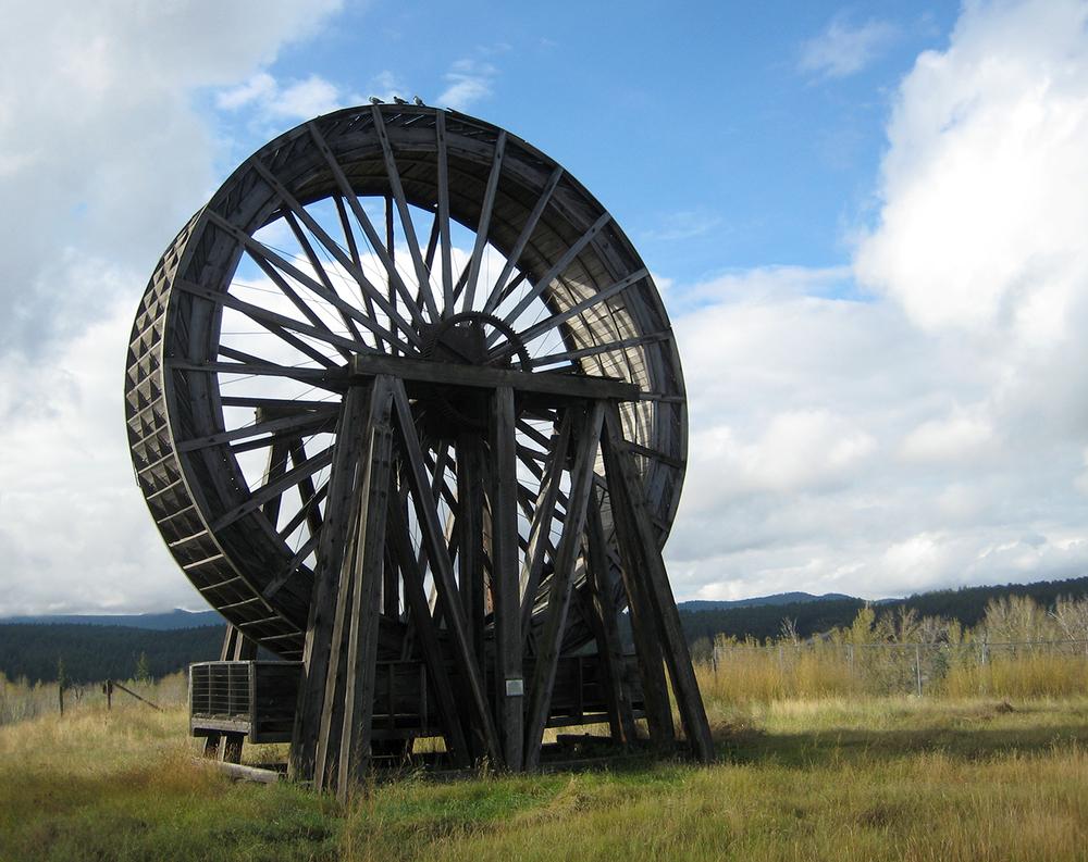 Massive waterwheel in Fort Steele, British Columbia.