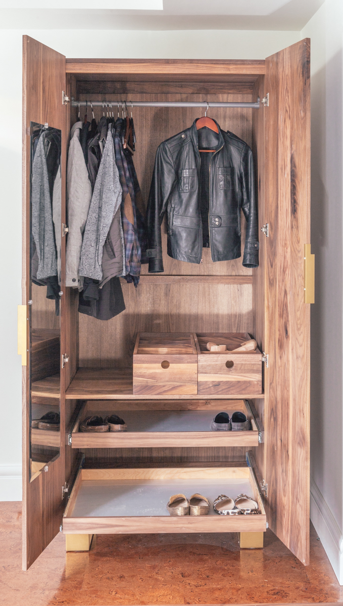 Fully functional armoire interior