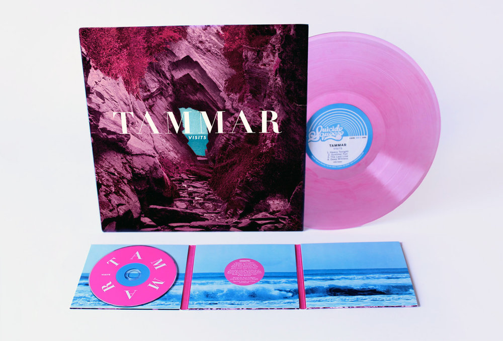 Tammar  Visits   The unnatural, pink tones of the cover urge the viewer inward toward the blue ocean beyond. This theme extends throughout the package as pink contrasts blue.