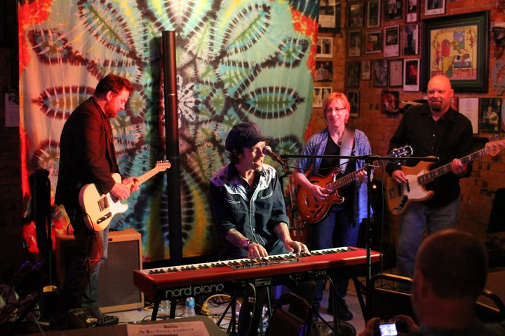 Andy Fleming, Dave Zollo, BeJae, and Lyle Hogue at  Byron's  in Pomeroy, IA, 2011. Photo by Bryan Farland.