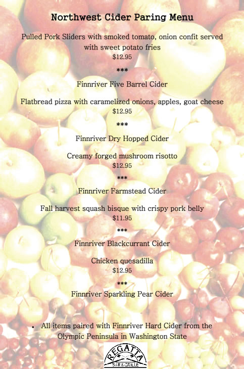 Regatta Bar & Grille Northwest Cider Pairing Menu