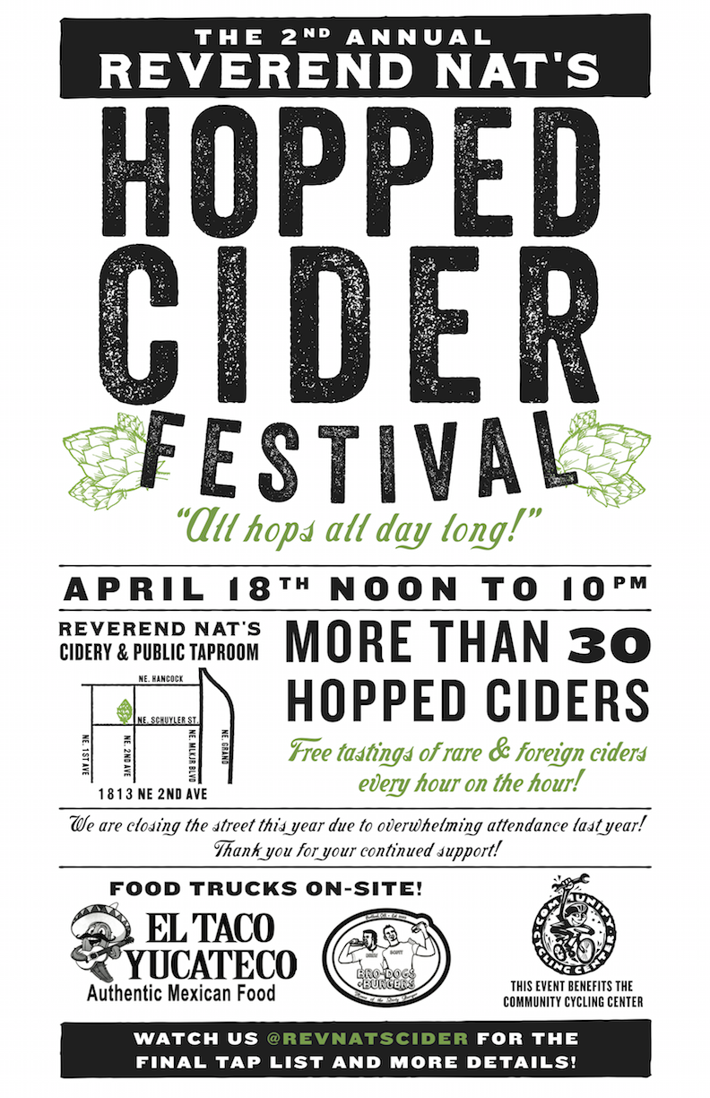 Full list of ciders available at http://revnats.com/HoppedCiderFest/