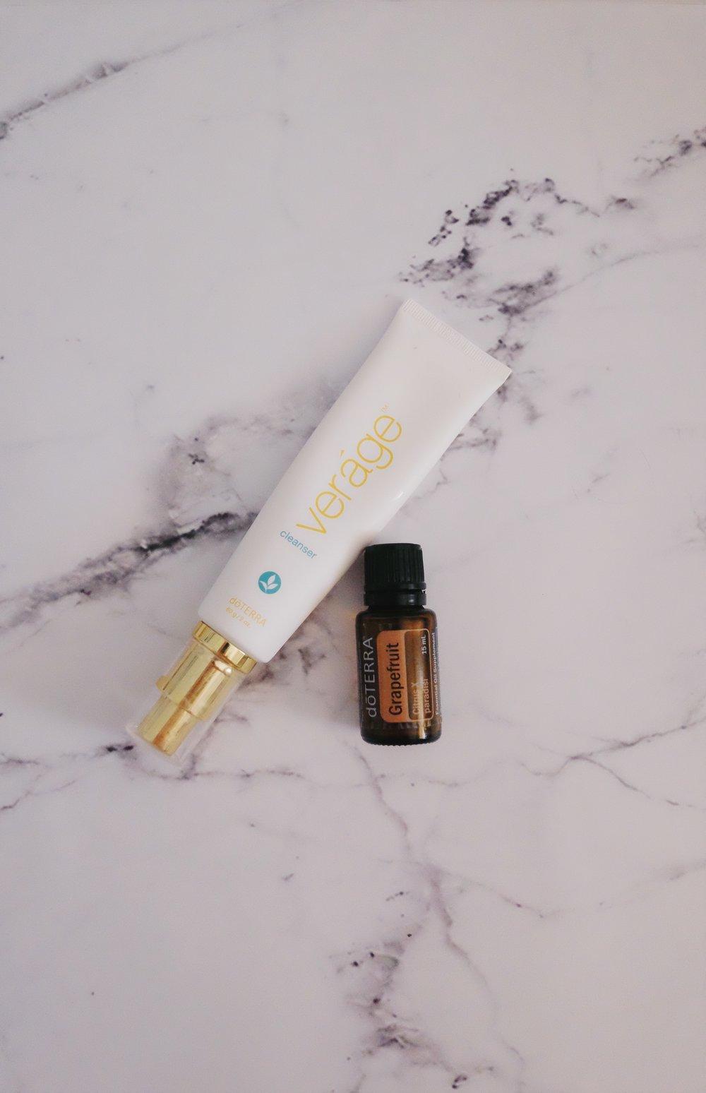 Morning Routine - Verage CleanserGrapefruit Essential OilVerage MoisturiserOrigins GinZing Eye Cream