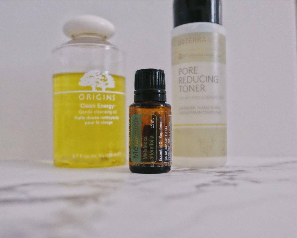 Evening Routine - Origins Cleansing OilTea Tree Essential OildoTERRA Pore Reducing TonerVerage MoisuriserFrankincense Essential Oil