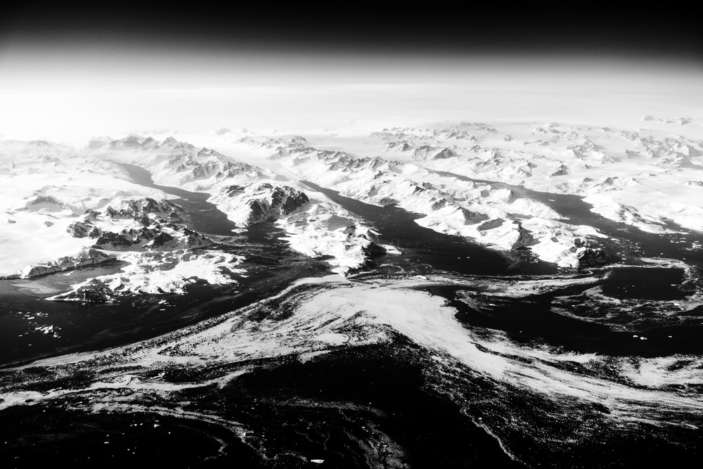 Greenland from the air Black and White.jpg