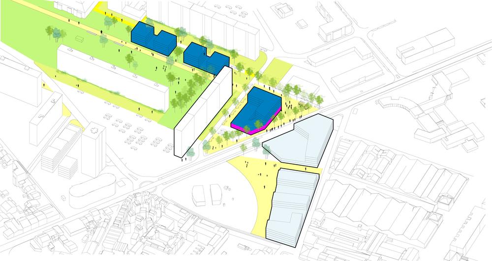 Proposition pour l'entrée du quartier au niveau du Tramway