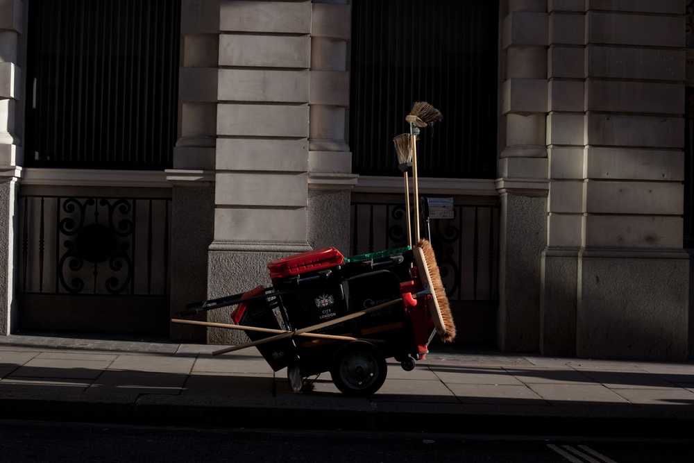 Street cleaners cart, Fenchurch St, London